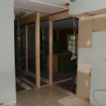 Kitchen looking towards living room, removal of living room-hallway structural wall, temporary support in place