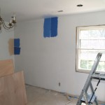 New drywall in dining room, Testing paint colors