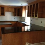 new kitchen cabinets and countertops in place