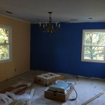 Newly painted dining room walls with new windows