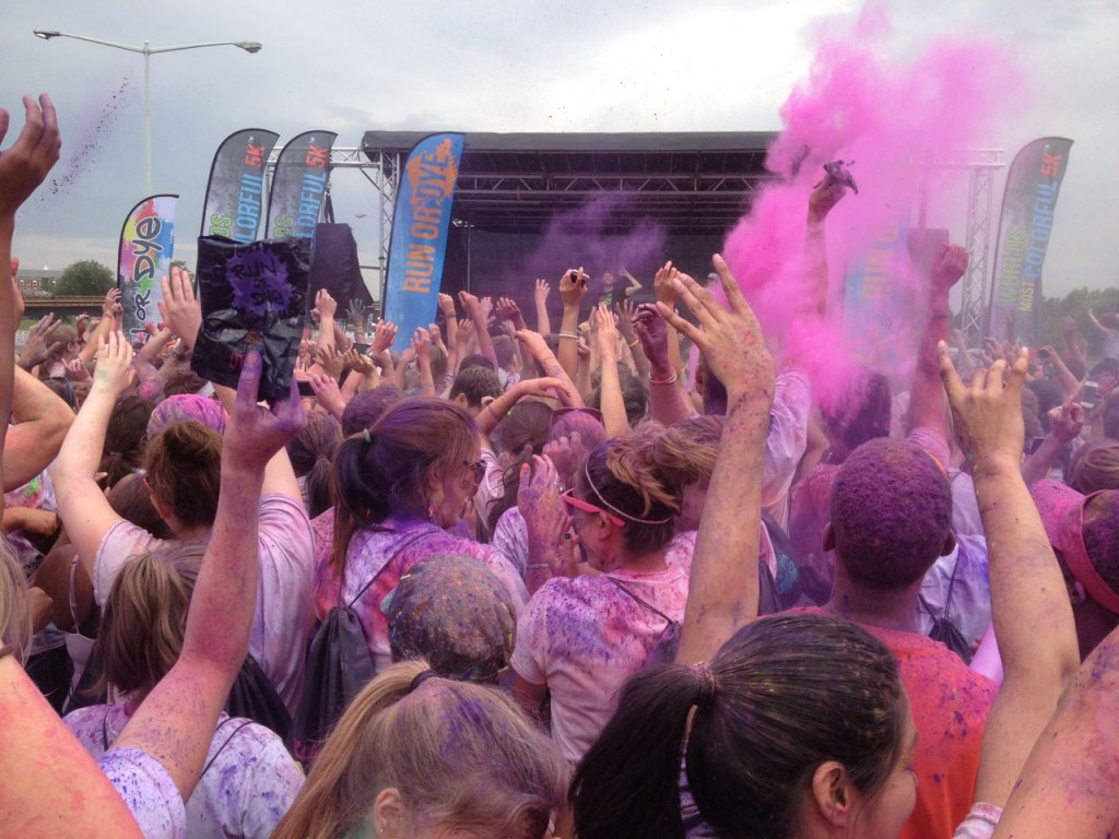 The dye party after the race with clouds of dye being thrown