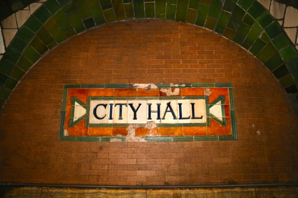 Old City Hall station sign