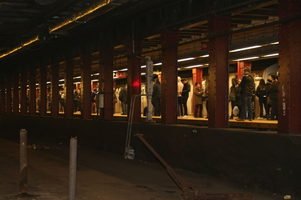 View of subway platform from the Delancey Terminal