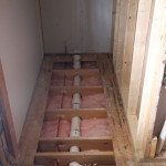 Insulation complete in toilet area