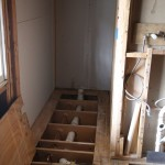 Plumbing and electrical rough-ins done in toilet area