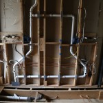 Plumbing and electrical rough-ins done in vanity area