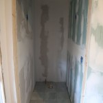 Drywall in place in toilet area