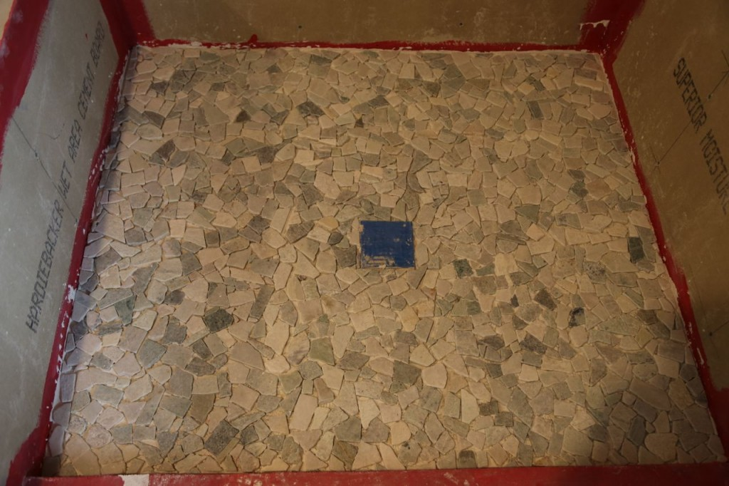 Tile laid on the shower floor