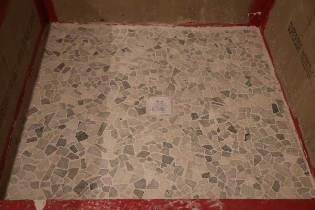 Shower floor tile grouted