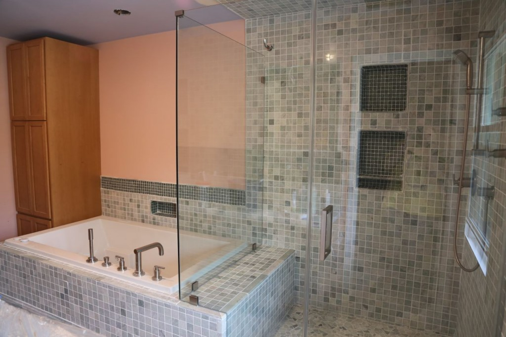 Shower glass wall and door