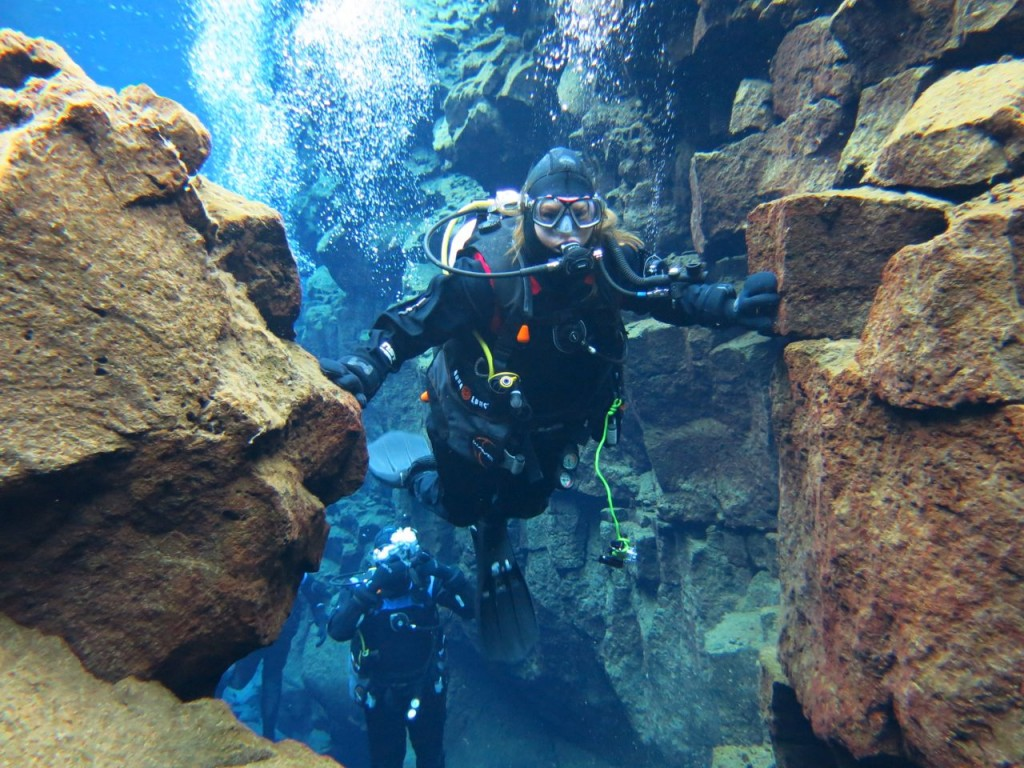 Me touching the North American and Eurasian tectonic plates