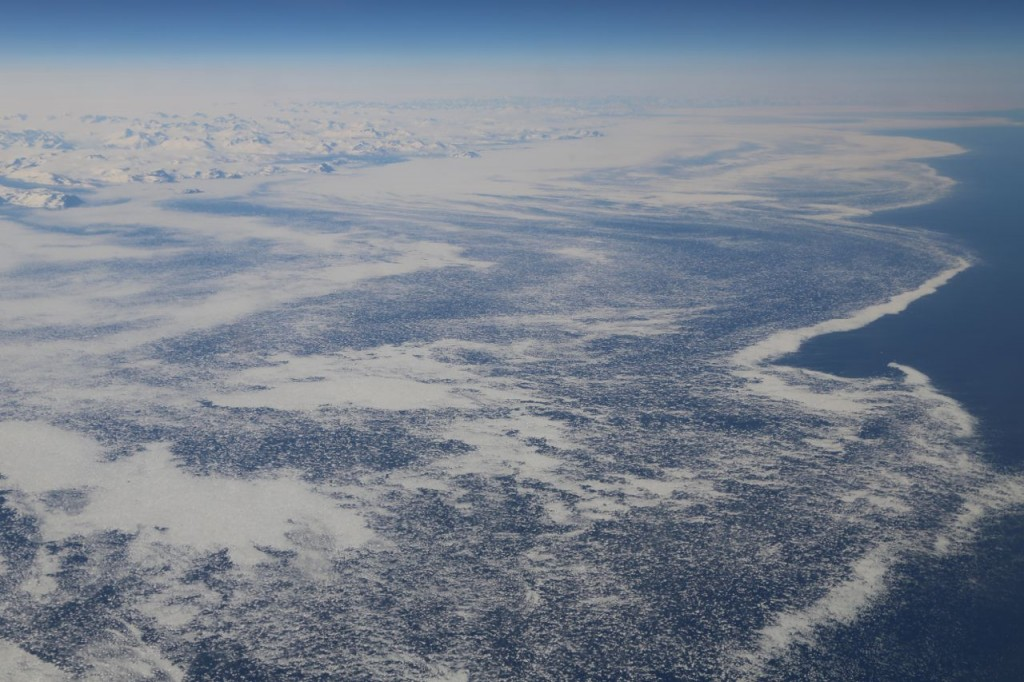 Ice spreading west from Greenland