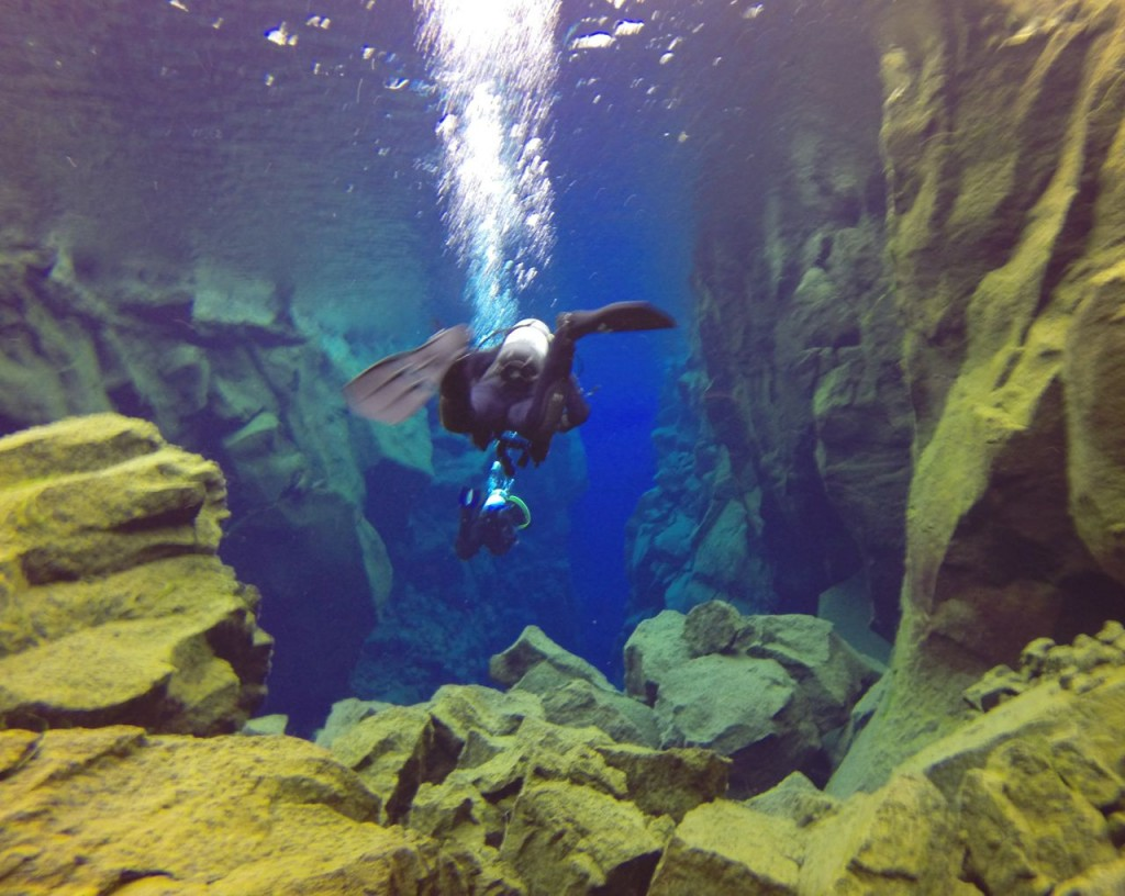 Diver in Canyon in Silfra