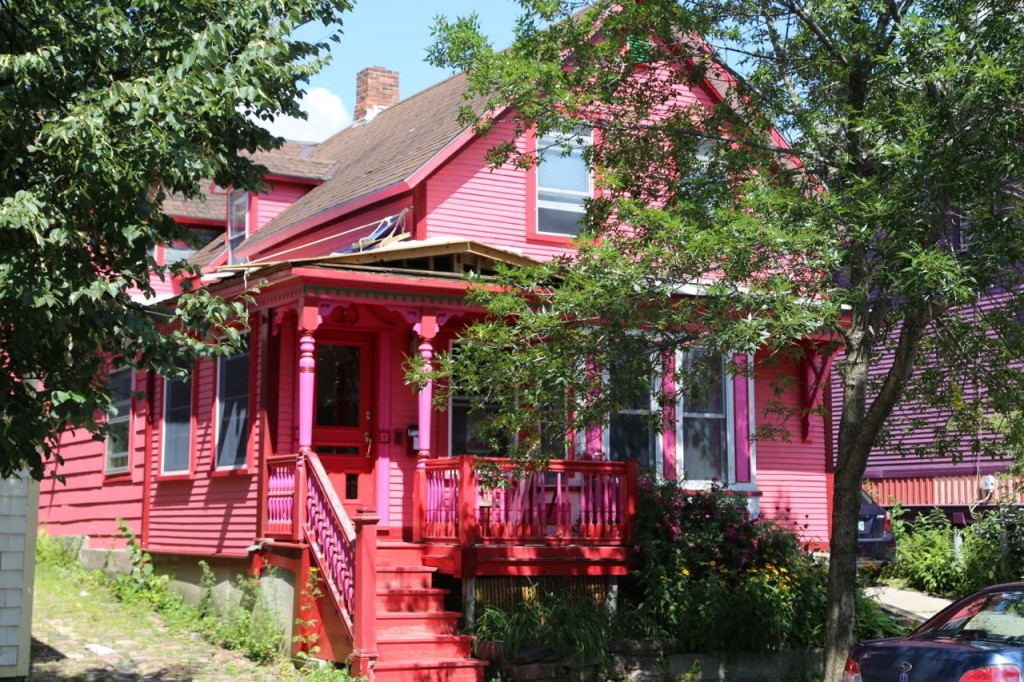pink and red house