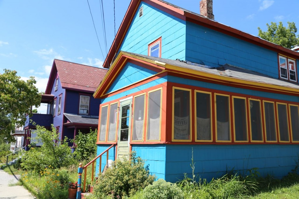 purple and blue houses
