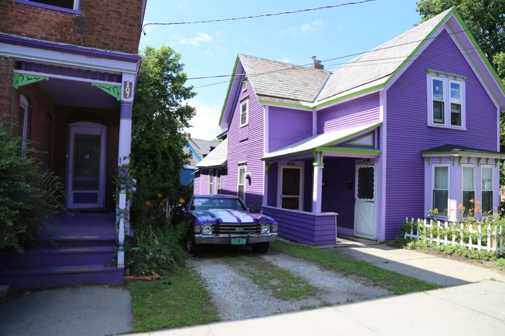 purple house and camino