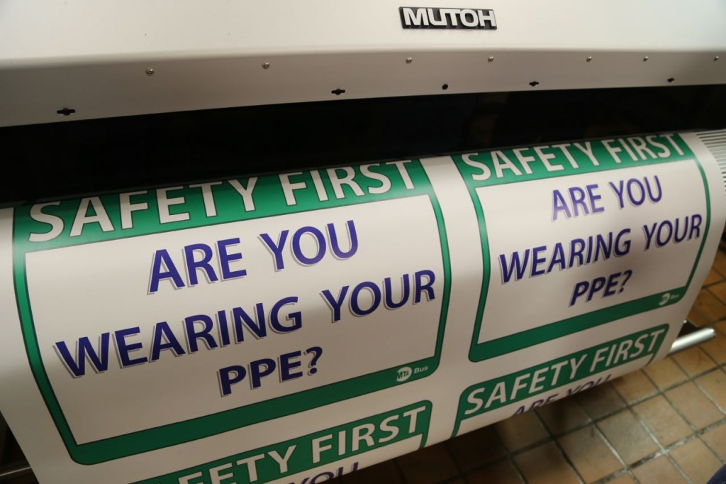 Safety first signs being printed in bulk. As an engineer, I particularly enjoyed seeing this.