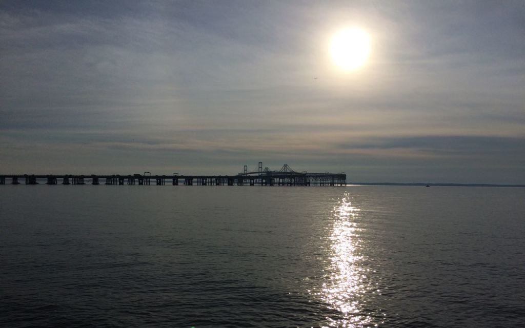View of the Chesapeake Bay Bridge near the start of the race