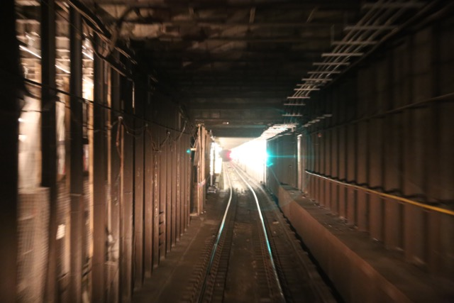 Subway tunnel right before station