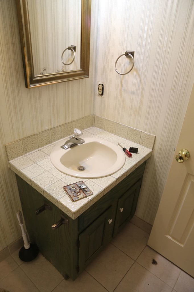The old vanity and medicine cabinet