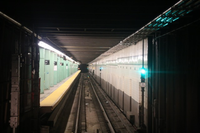 Subway tunnel entering station