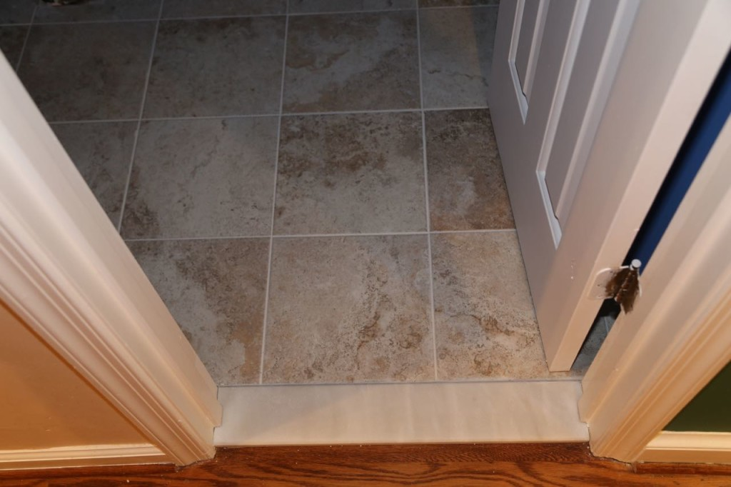 New marble transition and new tile floor