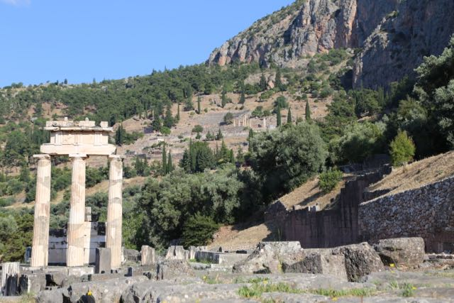 Sanctuary of Athena Pronaia with Delphi in the background