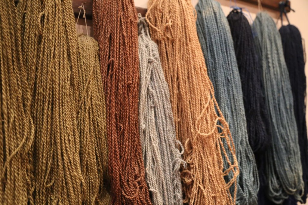 Dyed wool threads