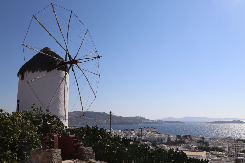 A famous Mykonos windmill on the hill