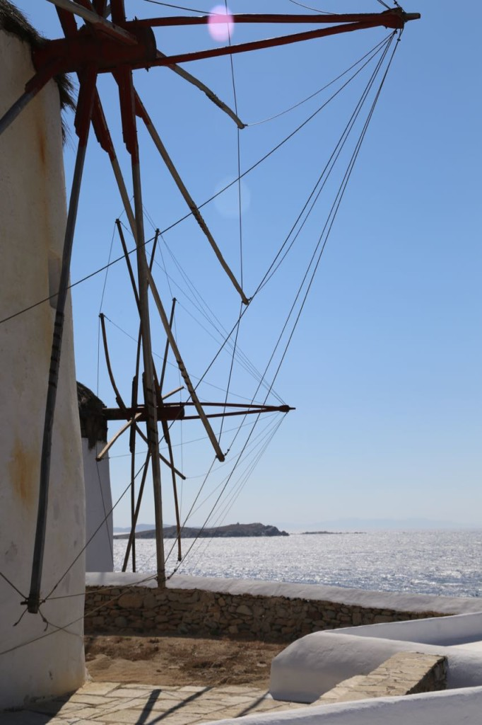 Up close view of the Mykonos windmills
