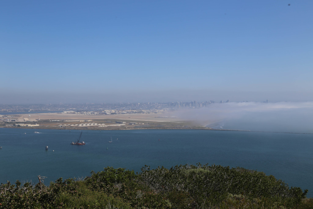 View of San Diego and North Island Naval Air Station from Cabrillo National Monument (in morning)