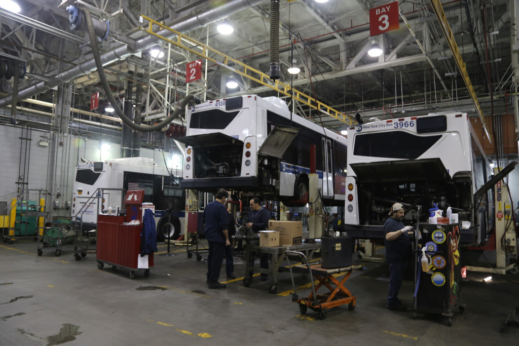 Regular maintenance performed on buses