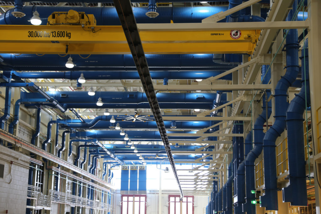 Overhead crane lift area