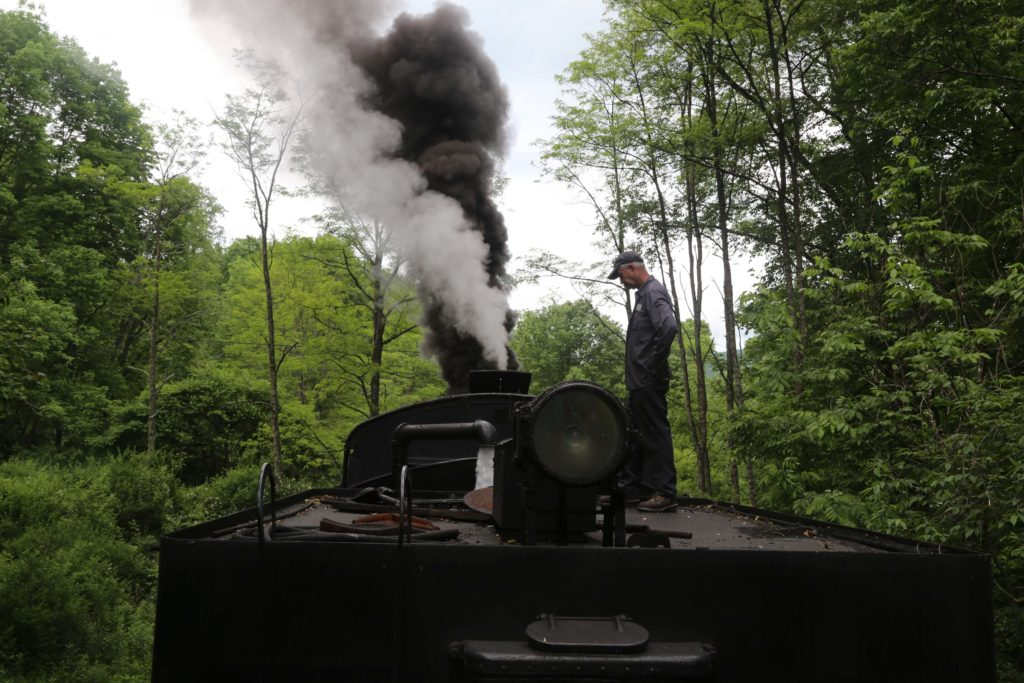 Refilling the locomotive with water on the return trip