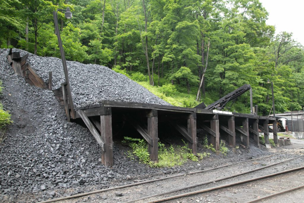 Coal pile to supply the Cass Scenic Railroad train