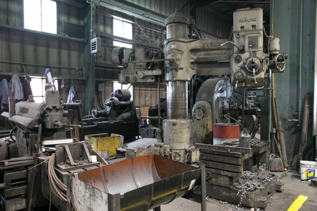 Inside the Cass shop with many machines to make replacement parts that can no longer be bought