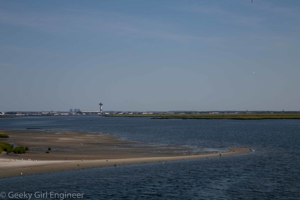 View from train of Jamaica Bay with JFK Airport in background
