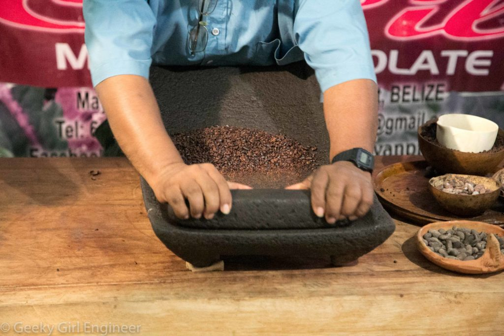 Crushing cacao nibs