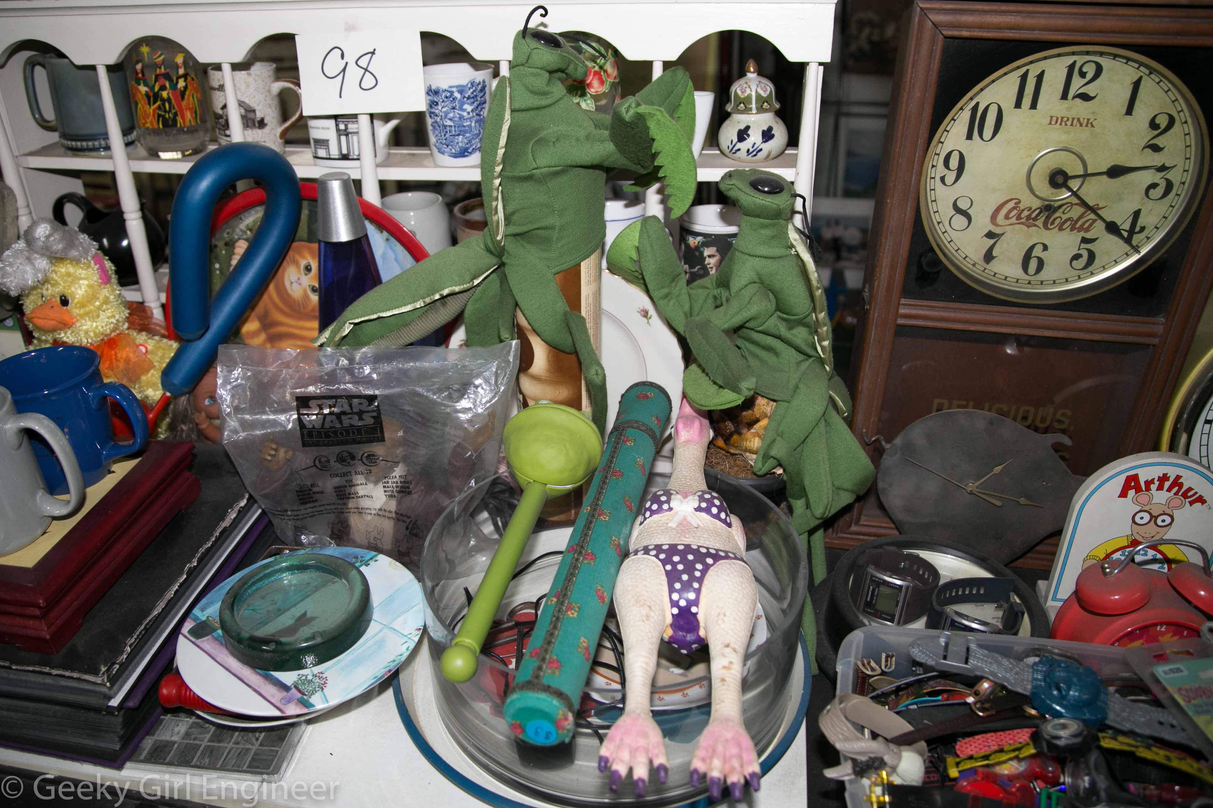 """This was one of my favorite collection with the fighting preying mantises and wooden """"rubber"""" chicken"""
