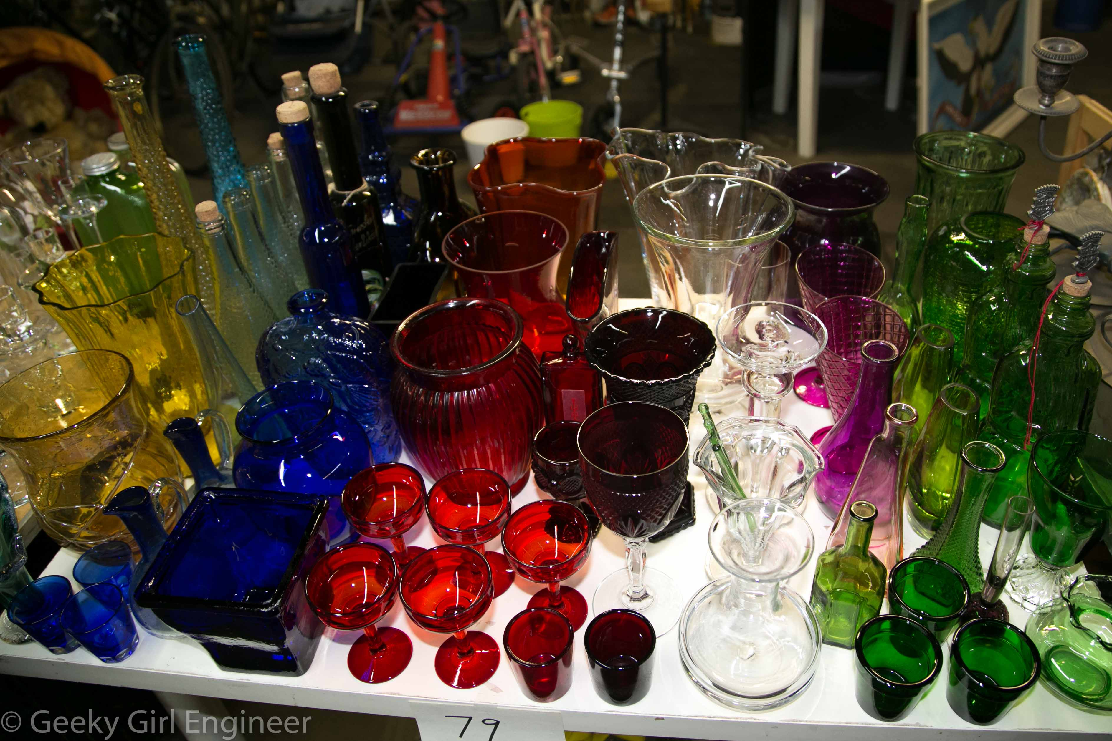 Colored glass collection that was amazingly unbroken