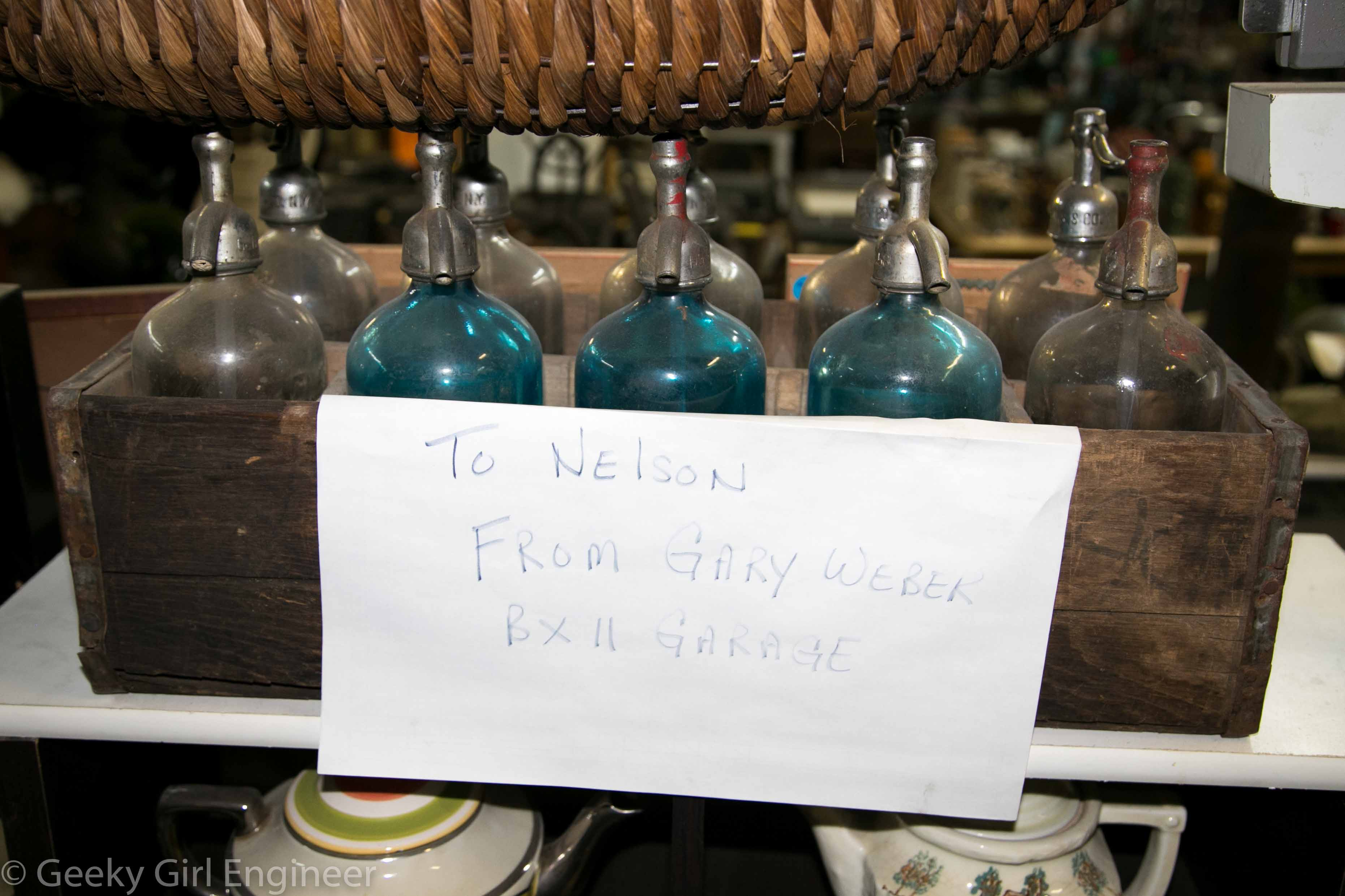A set of old seltzer bottles donated by another sanitation worker
