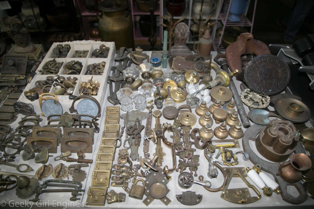 Collectible metal home accessories, some of which look rather valuable