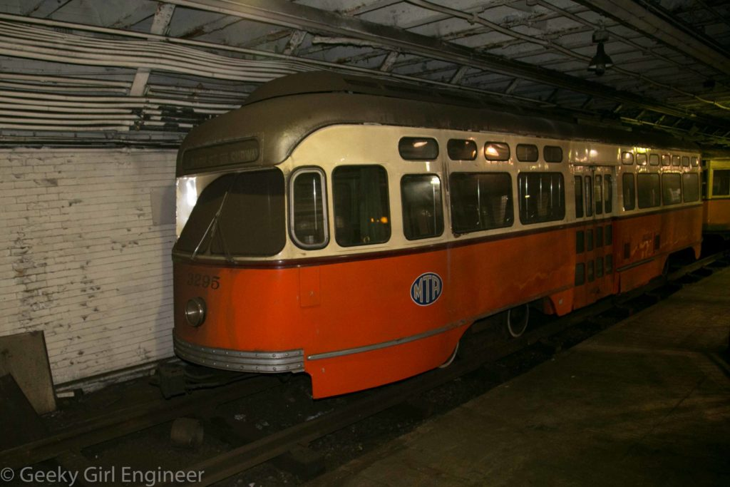 PCC Car No. 3295, according to display, this car was received in 1951 and was of the last PCC cards built by Pullman-Standard Company