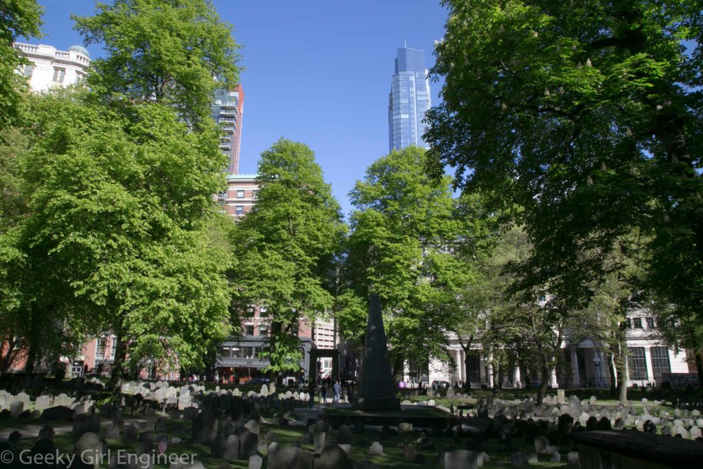 Granary Burying Ground, where Paul Revere, Samuel Adams, Mother Goose, and others are buried