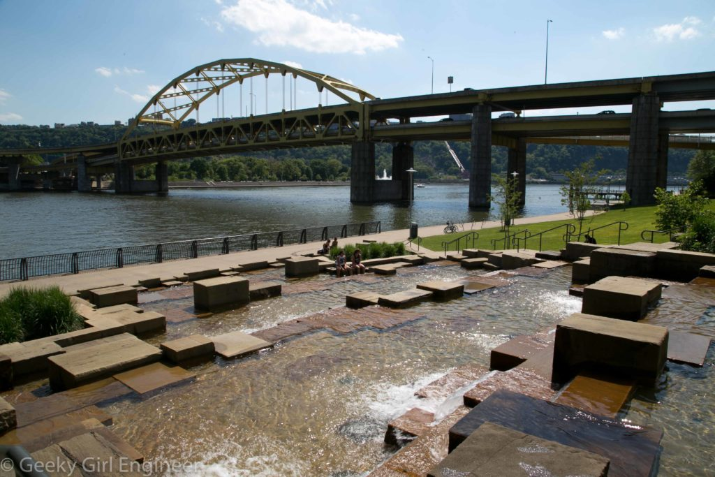 North Shore Riverwalk with Fort Duquesne Bridge in background