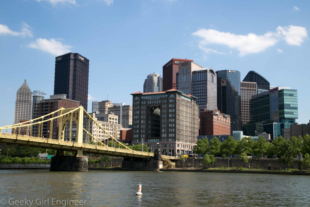 Robert Clemente Bridge and downtown